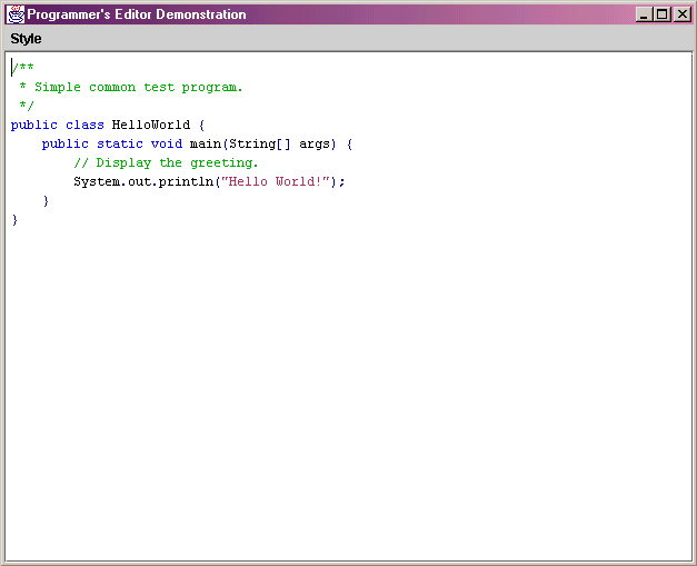 Superb Screen Shot Of Demo With A Java Hello World Program Displayed.